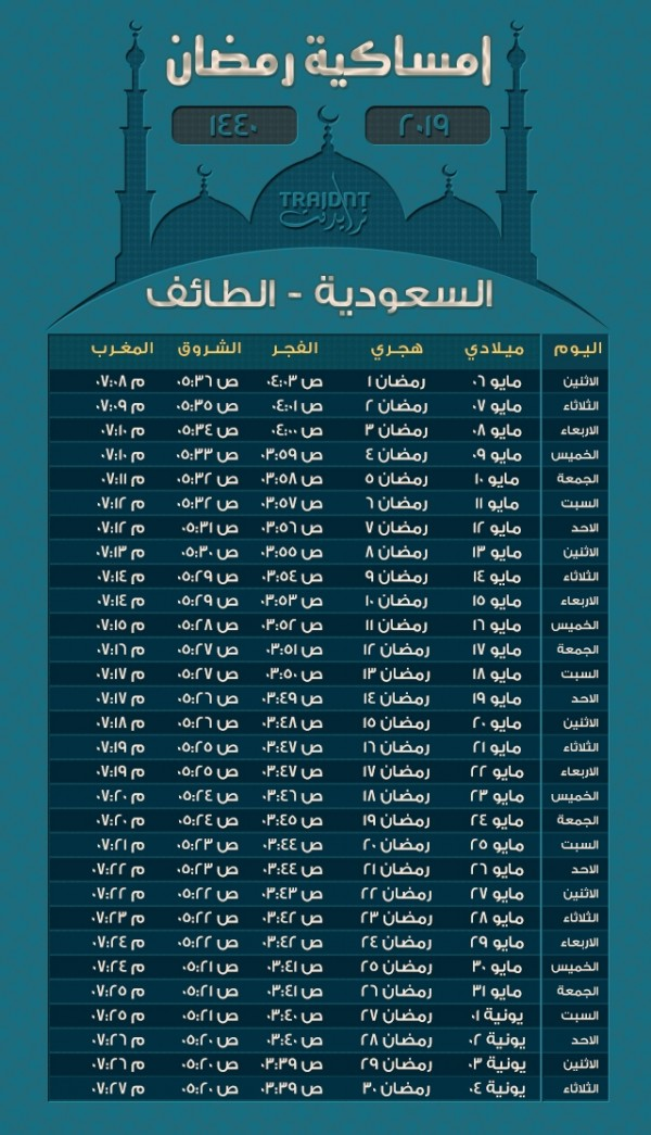 امساكية رمضان 1440 الطائف امساكية رمضان ١٤٤٠